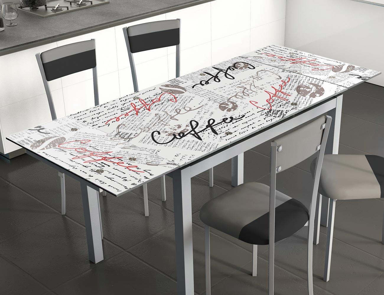 Mesa cocina extensible cristal 207 cff