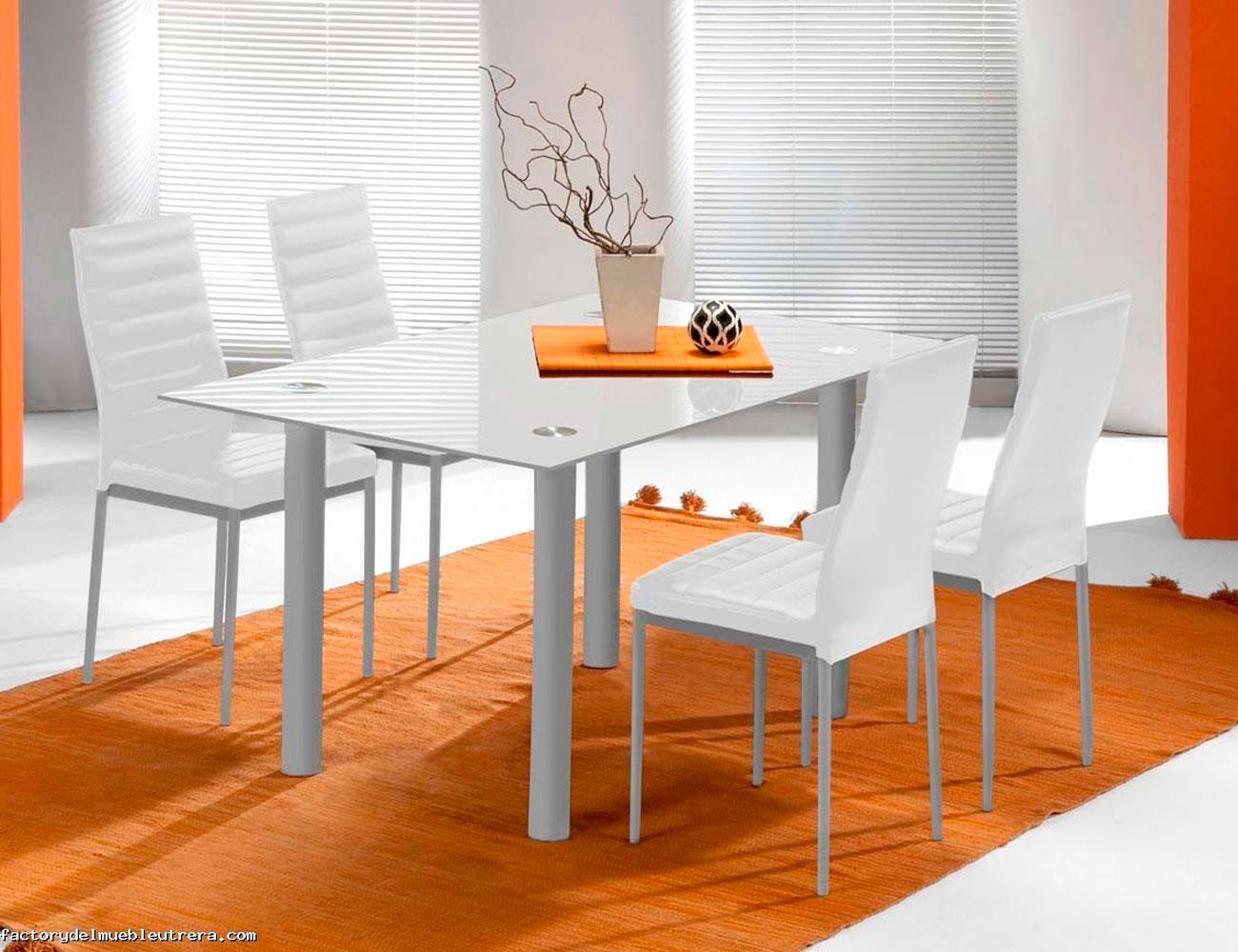 Mesa comedor cristal templado 213 blanca 2