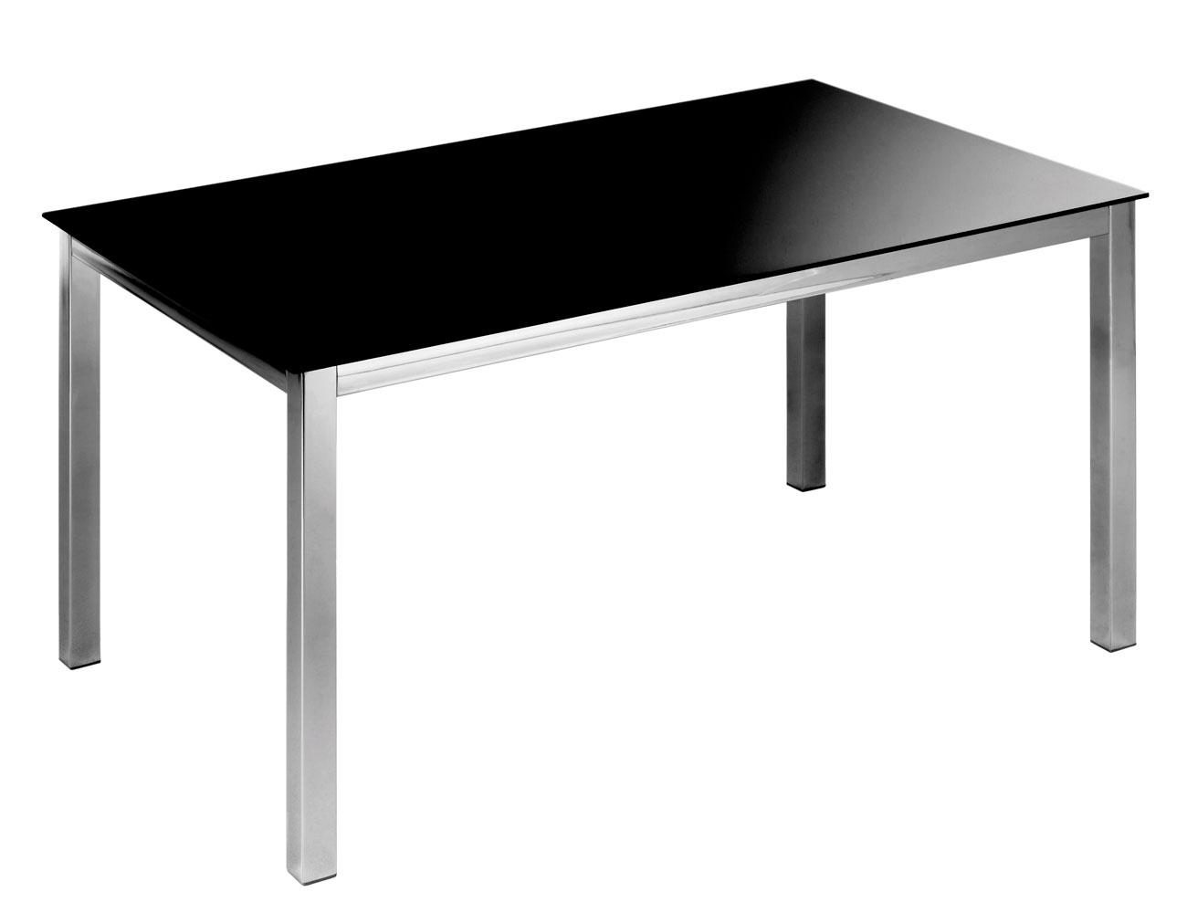 Mesa comedor cristal templado cromada 201 negra