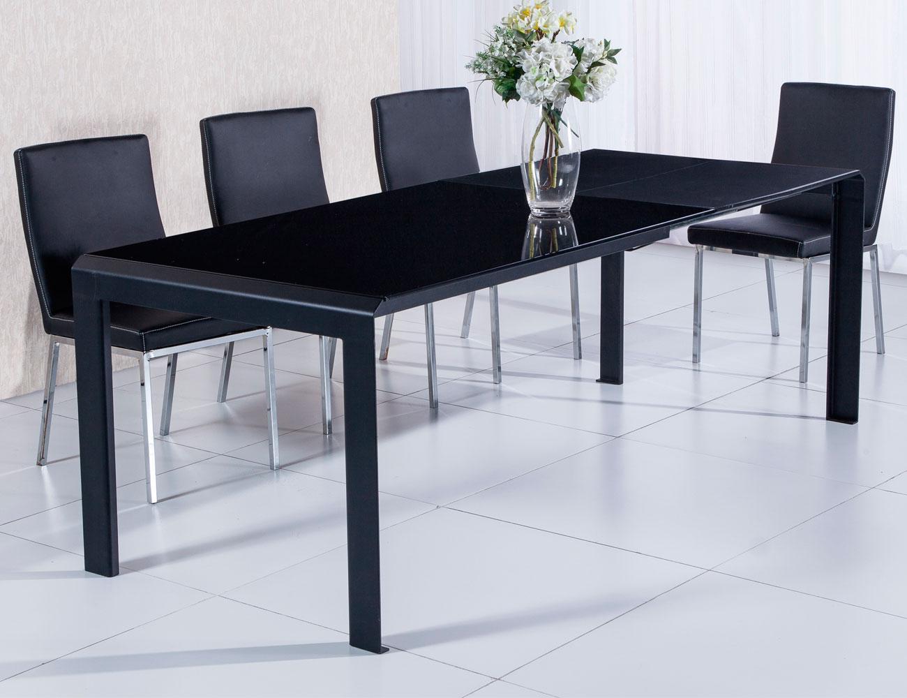 Mesa comedor cristal templado negro extensible