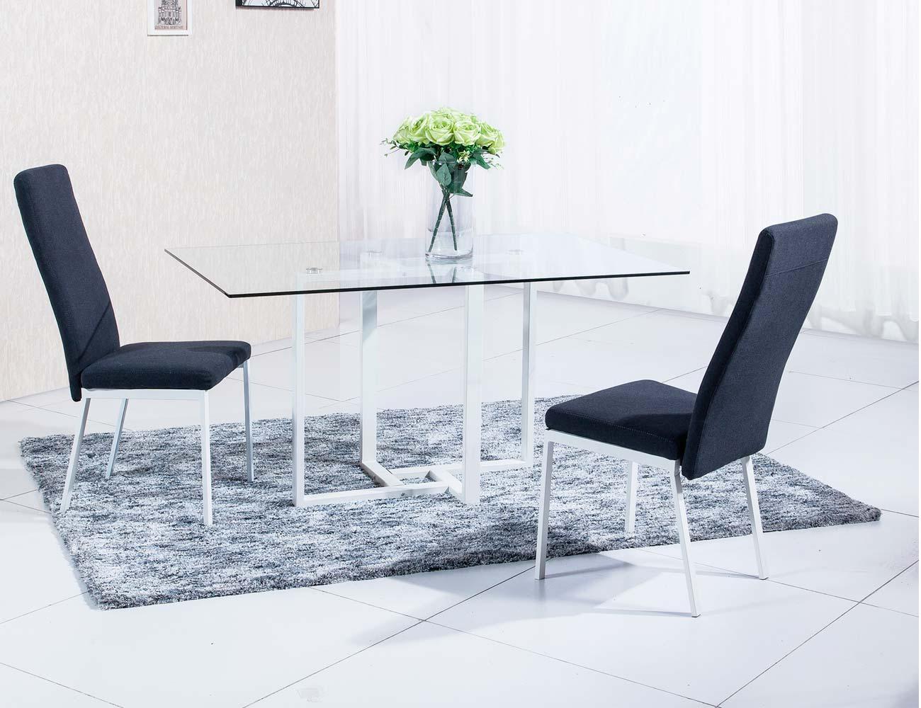 Mesa comedor cristal templado patas blancas