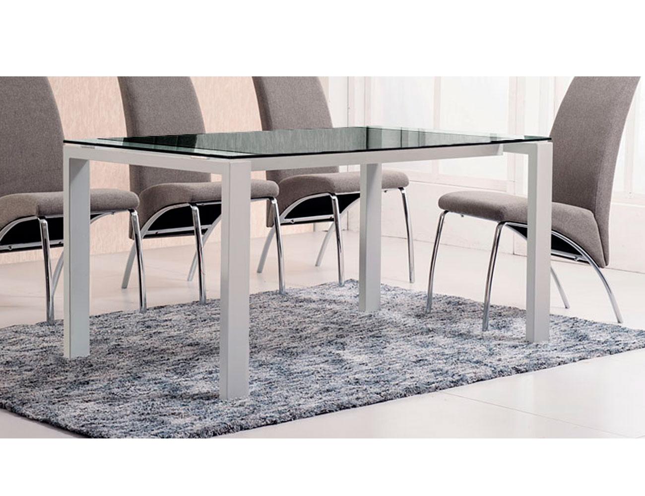 Mesa comedor cristal templado patas blanco negro
