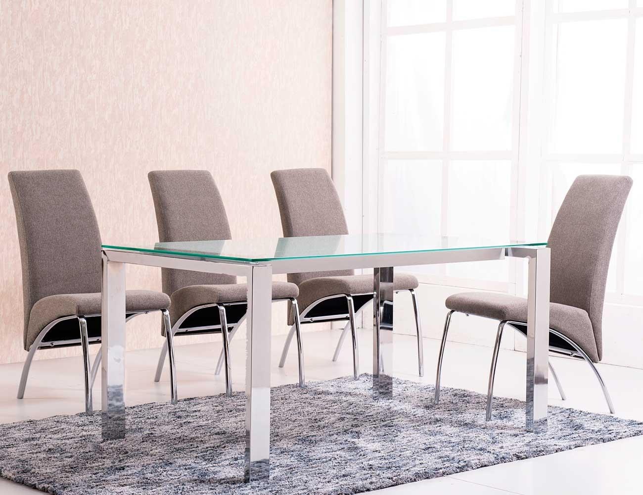 Mesa comedor cristal templado extensible negro con patas cromadas factory del mueble utrera - Mesa del comedor ...