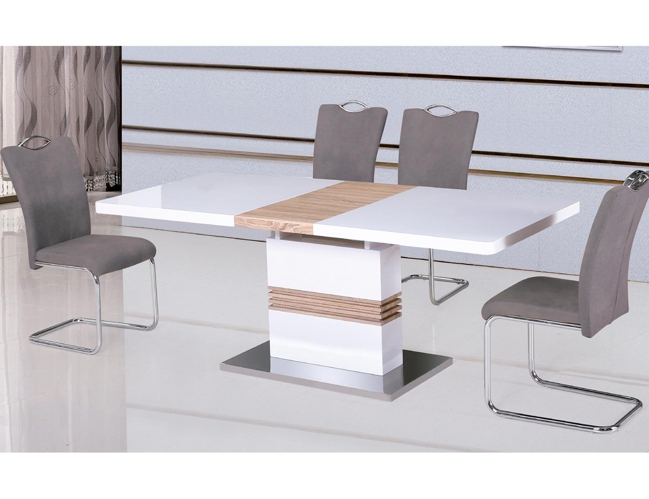 Mesa comedor dm blanco alto brillo 2