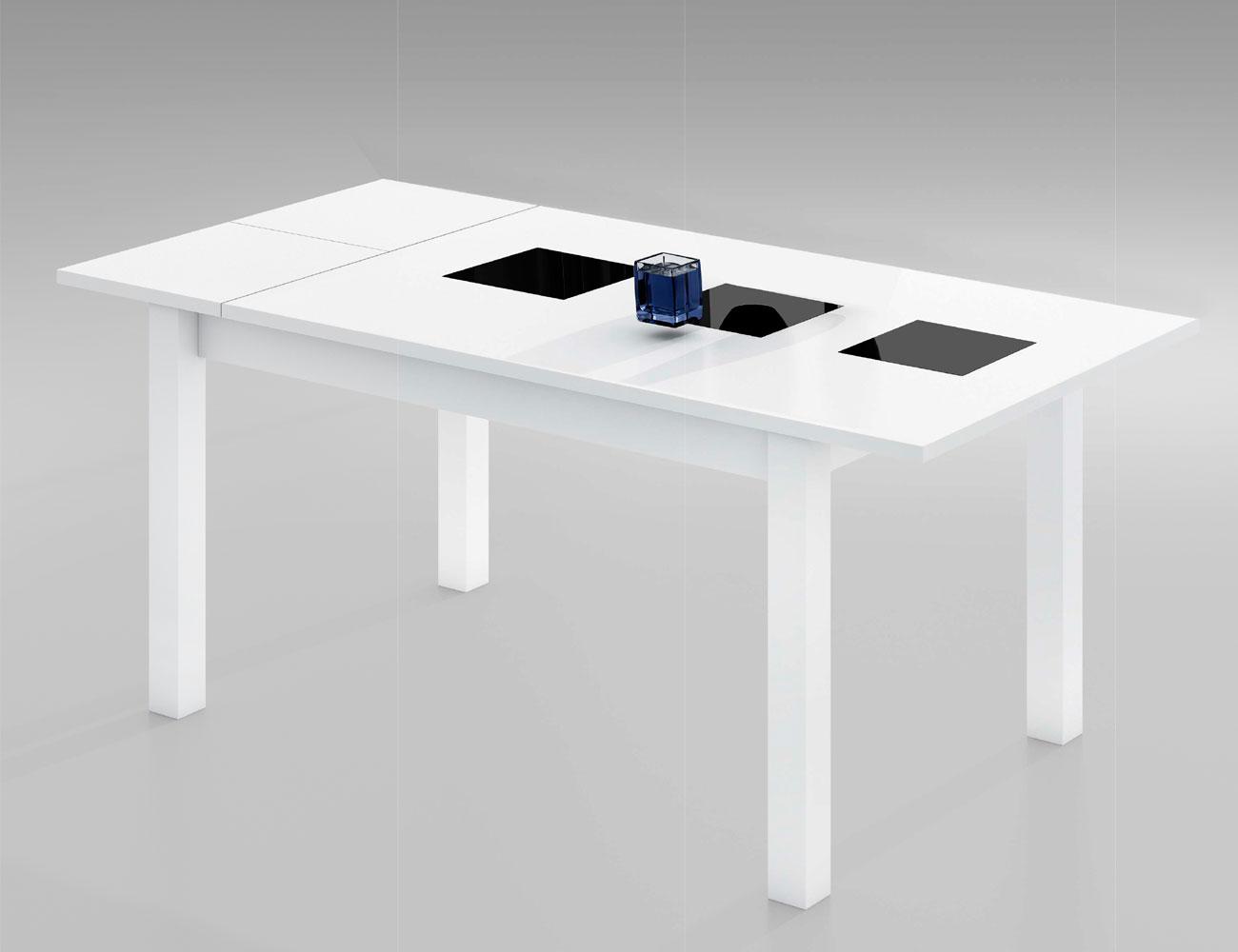 Mesa de comedor extensible en blanco con cristales for Mesa comedor disea o