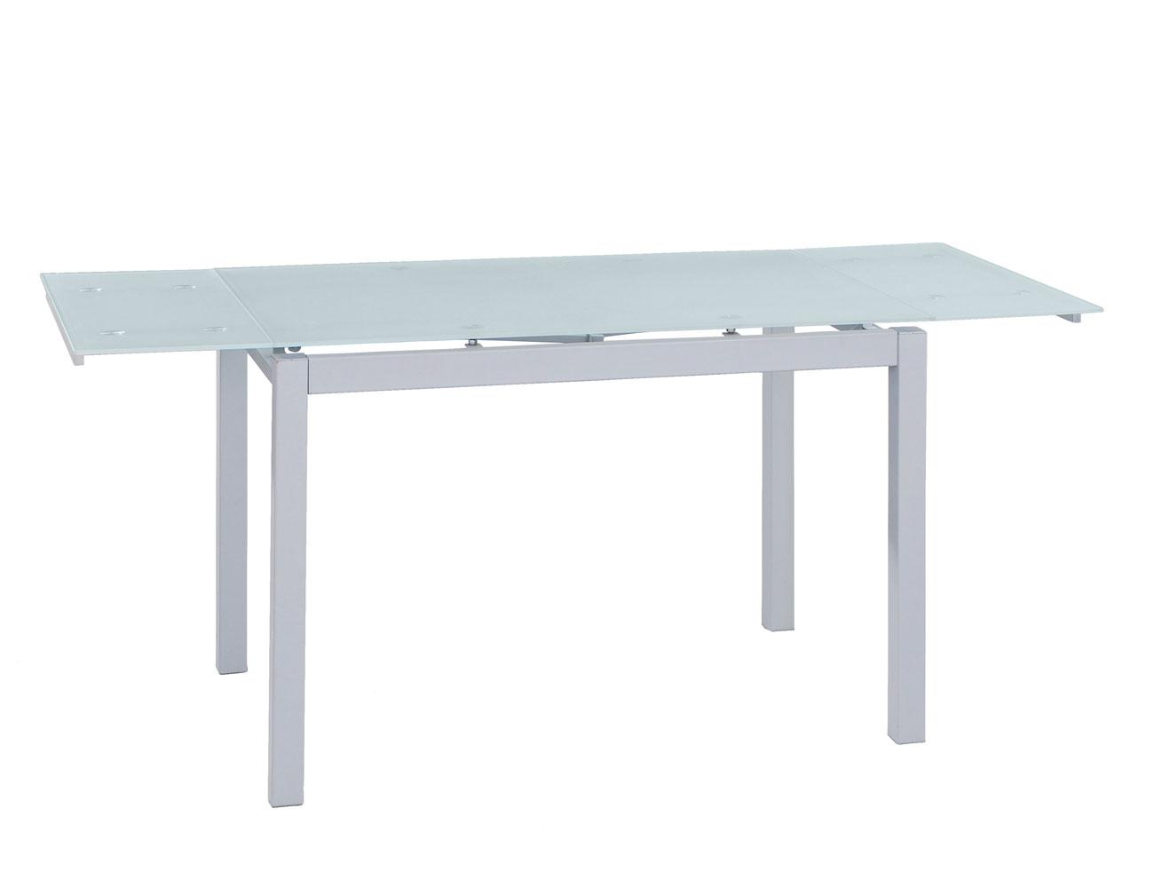 Mesa de cocina extensible en cristal templado 3582 - Mesa cristal blanco ...