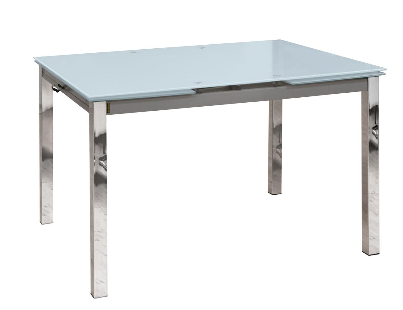 Mesa comedor extensible cristal templado 210 blanco