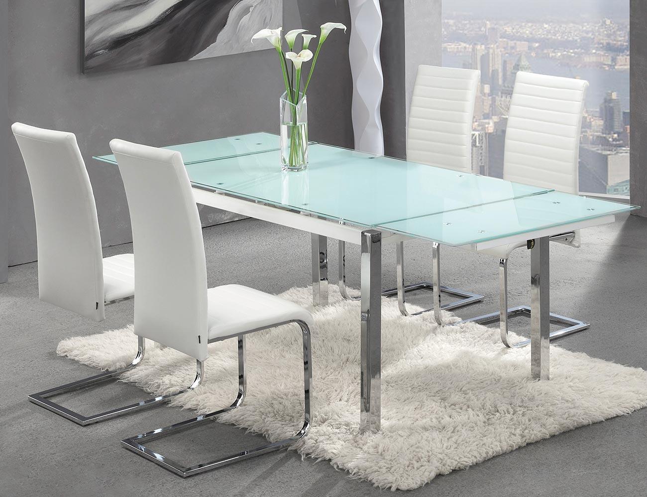 Mesa comedor extensible cristal templado blanco 207