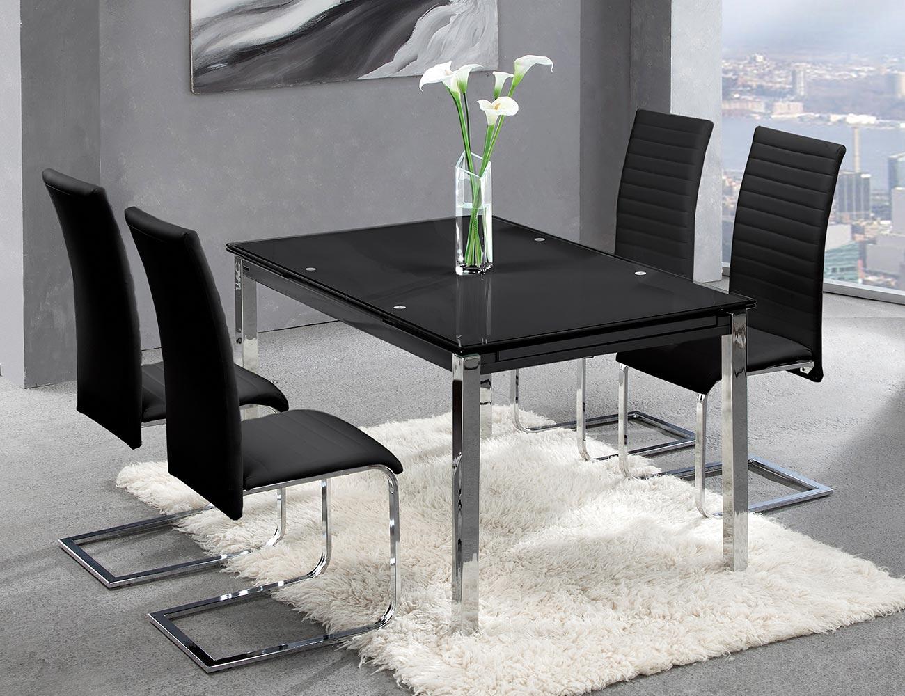 Mesa comedor extensible cristal templado negro 207