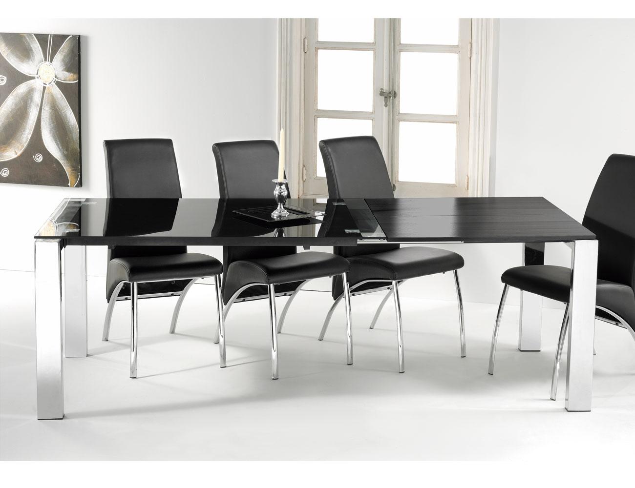 Mesa comedor cristal templado extensible negro con patas for Mesa cristal tuco