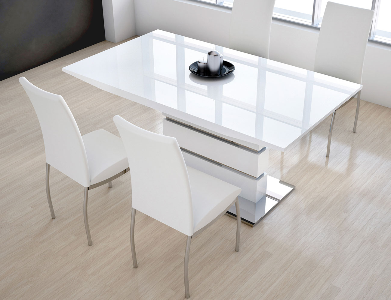 Mesa comedor extensible en dm blanco brillo 286 2