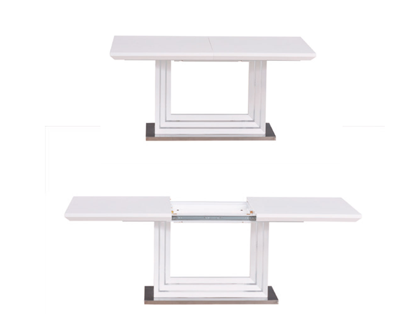 Mesa de comedor lacada en blanco alto brillo extensible for Mesa comedor blanca lacada