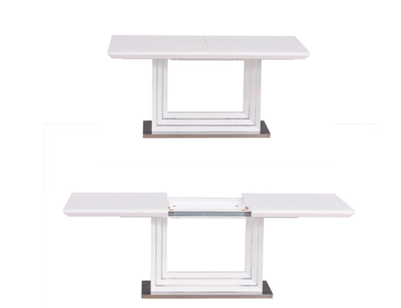 Mesa comedor lacada blanca alto brillo extensible 21