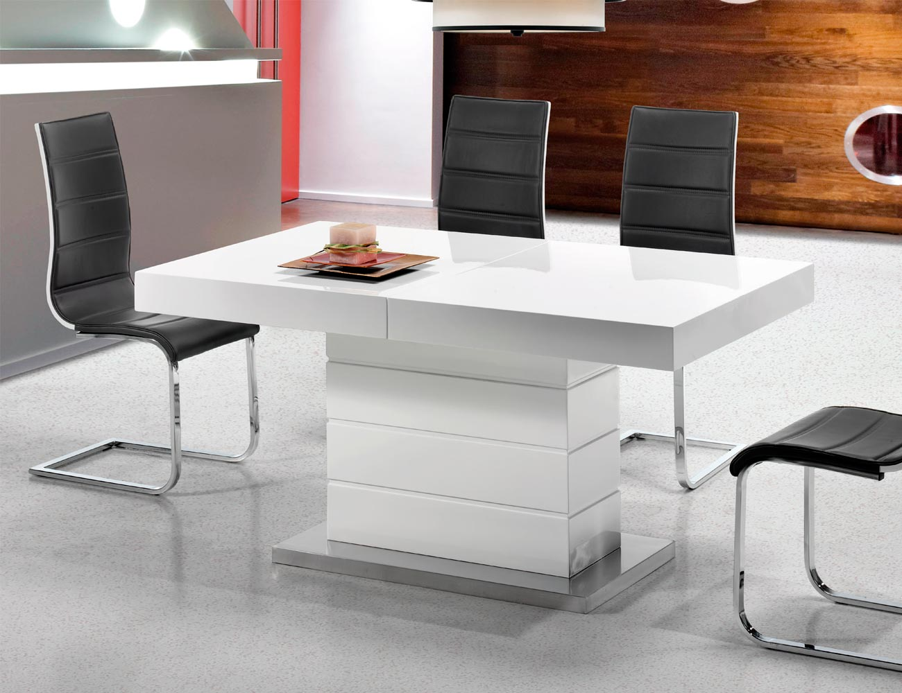 Mesa comedor lacada blanca alto brillo extensible acero 1