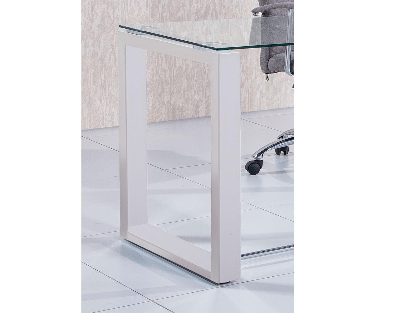 Mesa despacho oficina cristal templado blanca 2