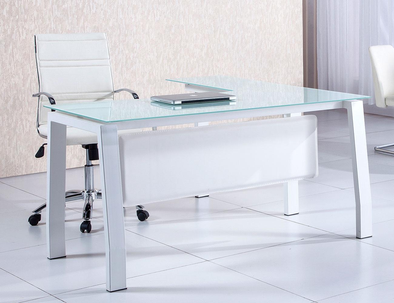 Mesa despacho oficina cristal templado blanca