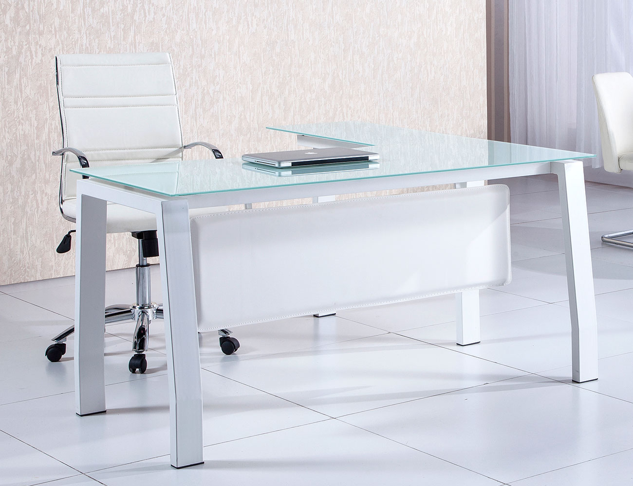 Mesa despacho oficina cristal templado blanca1