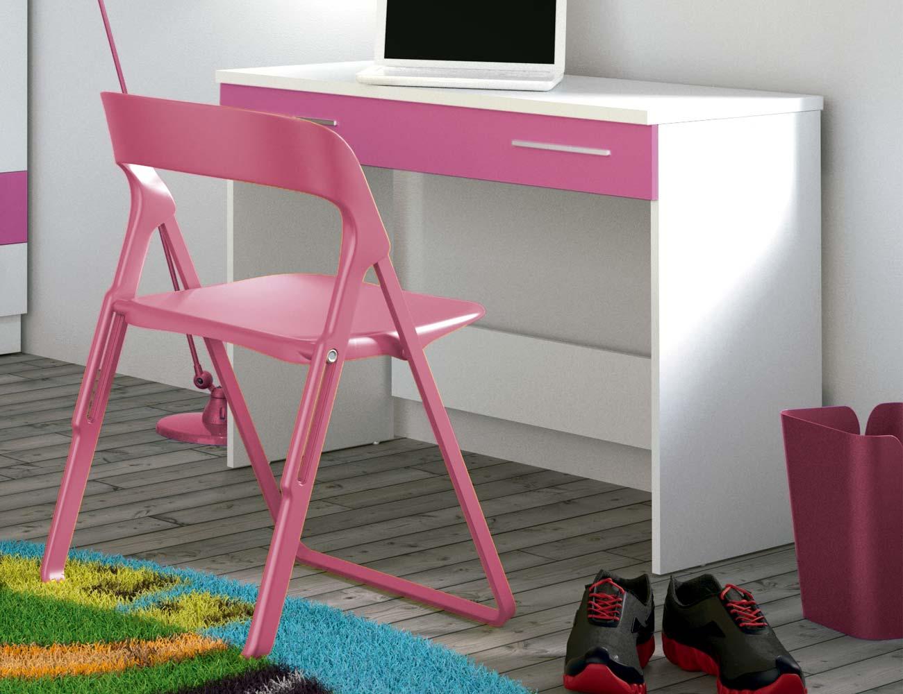 Mesa escritorio blanco fucsia grecia