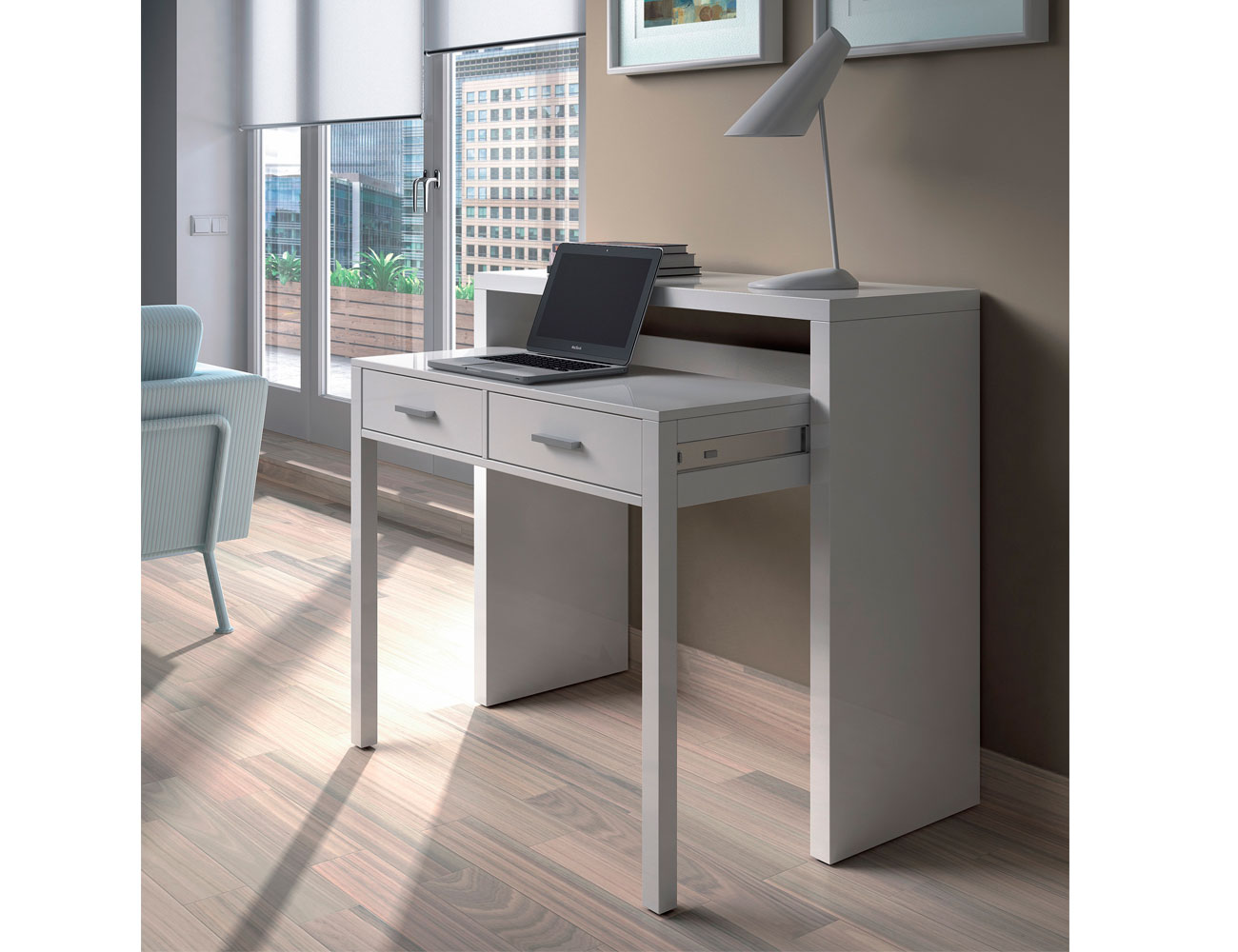 Mesa escritorio desplazable
