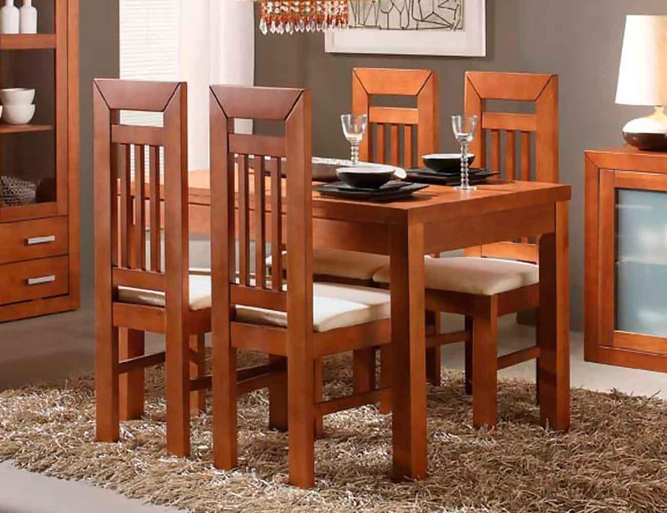 Muebles de sal n comedor estilo colonial en madera for Mesas y sillas para salon comedor