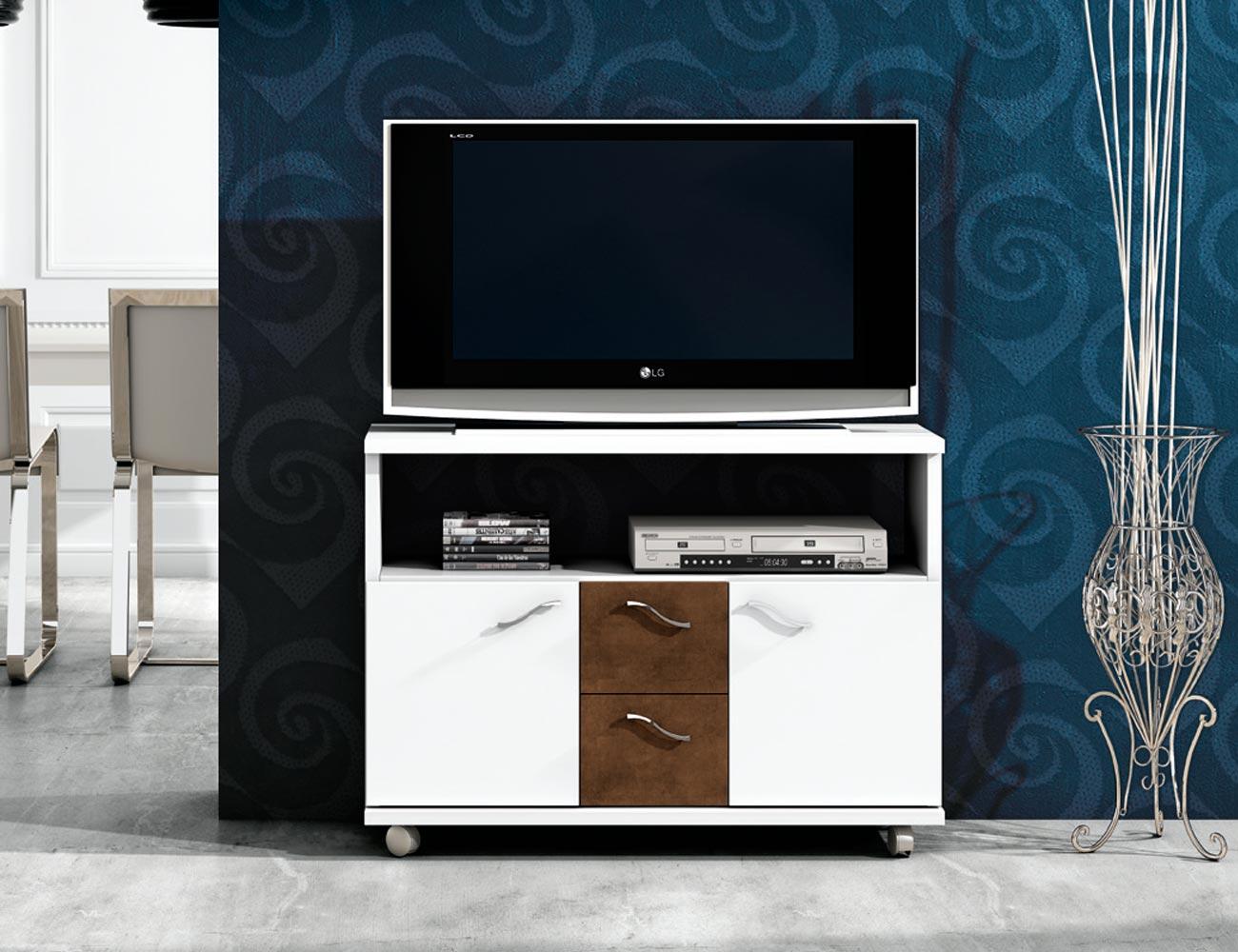 Mesa tv blanco wengue 331