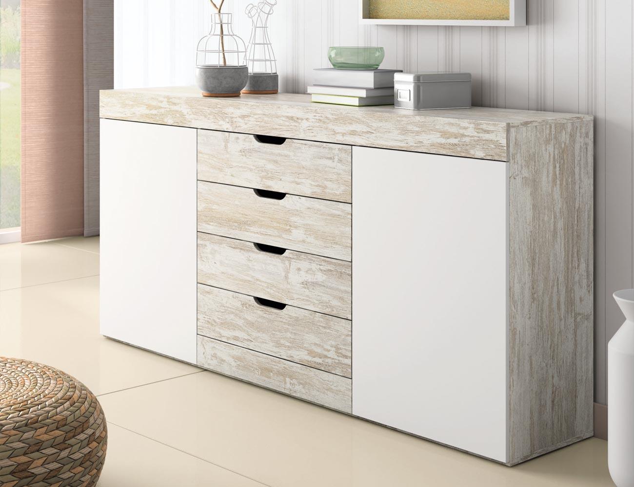 Mueble de sal n estilo moderno en vintage con blanco - Muebles vintage modernos ...
