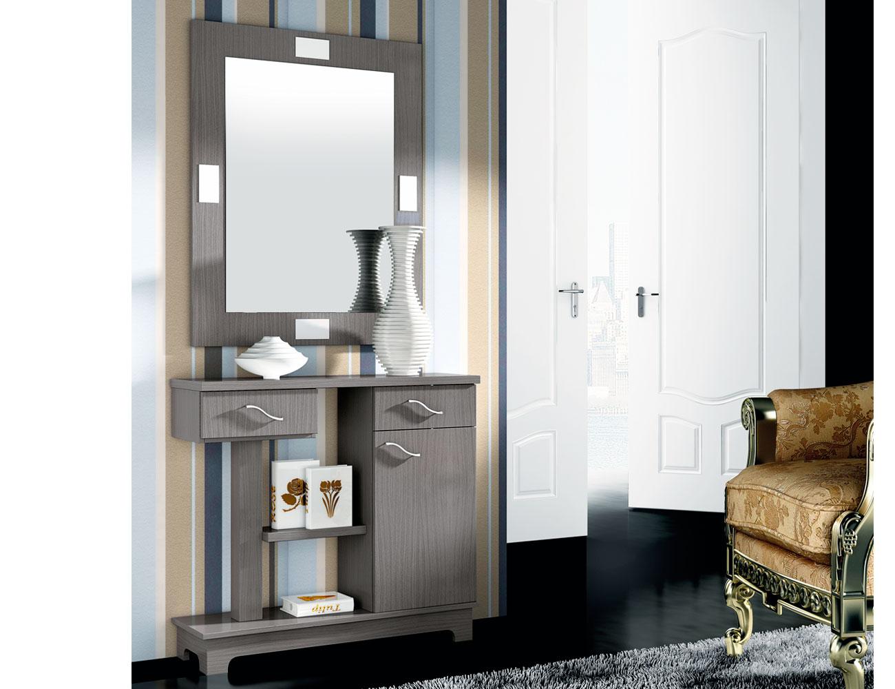 Recibidor estilo moderno con dos cajones una puerta y el for Espejo con mueble