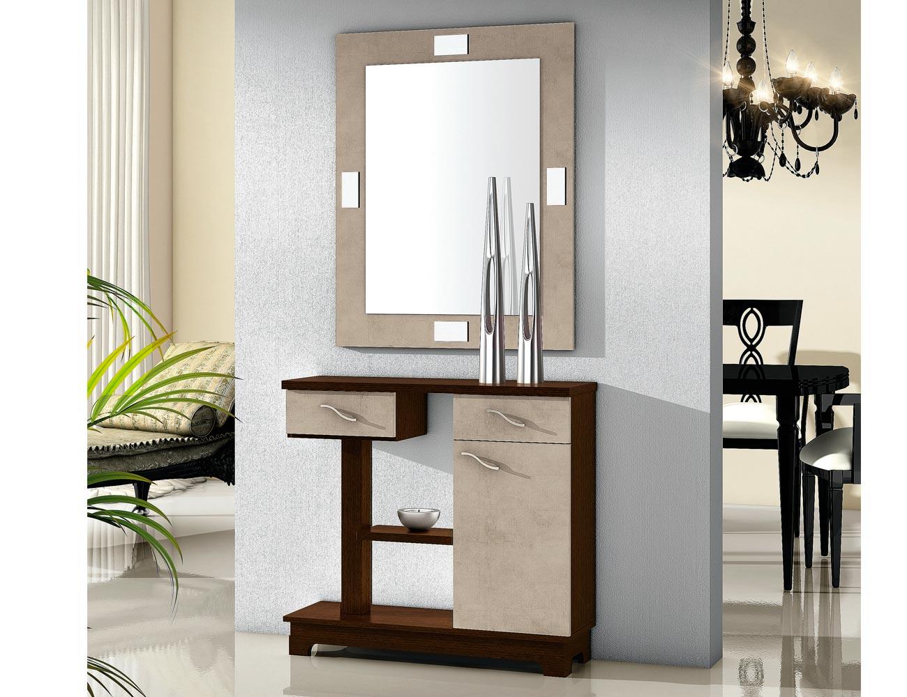 Mueble recibidor con espejo wengue ceniza 66