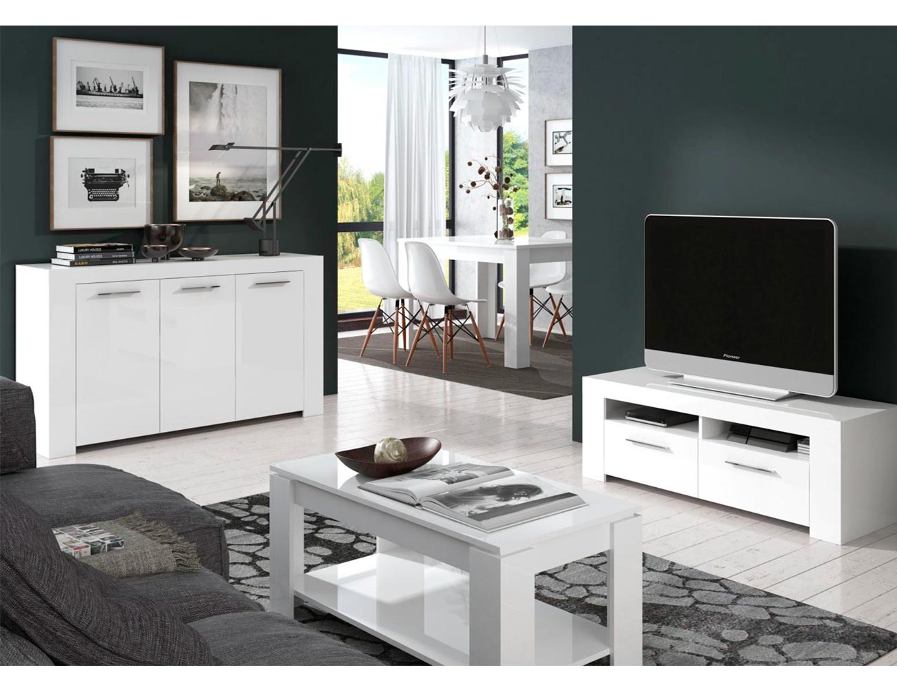 Mueble salon blanco brillo 2