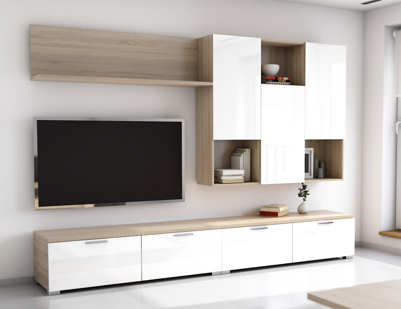 Mueble salon blanco coleccin galiano modular de saln for Mueble salon blanco y roble
