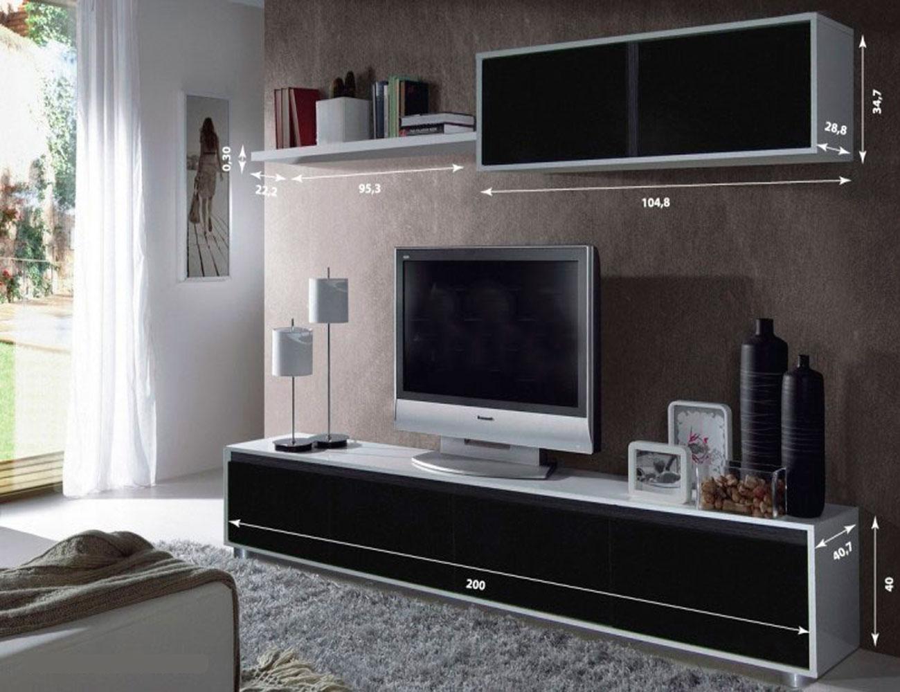 Mueble salon comedor blanco brillo negro 2