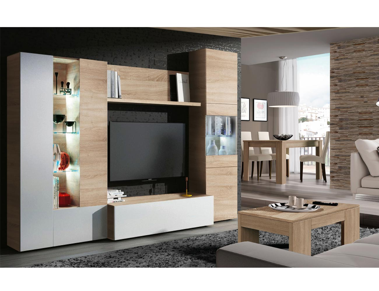 Mueble de sal n comedor modular en blanco con roble y luces leds factory del mueble utrera - Luces led para salon ...