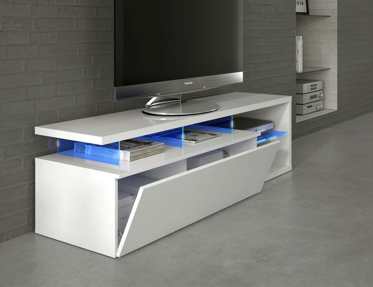 Mueble salon comedor luces leds blanco 3