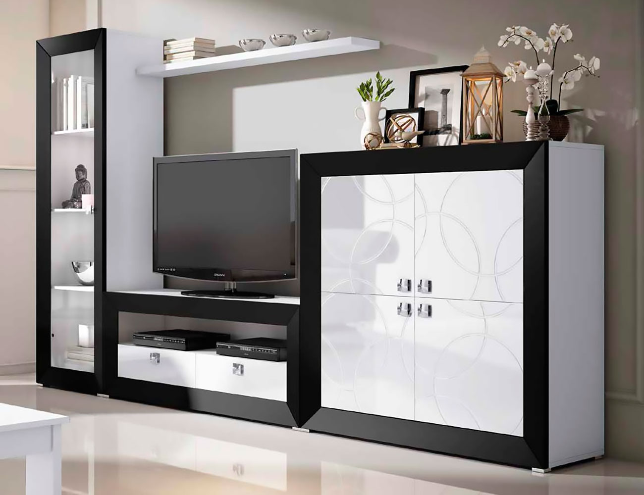 Mueble de sal n modular moderno lacado 2477 factory for Mueble vitrina salon moderno