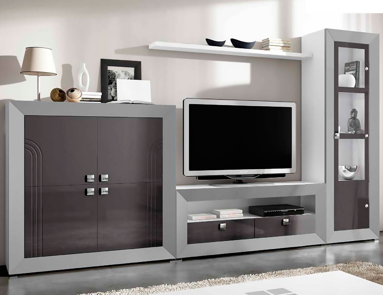 Mueble de sal n modular moderno lacado 2452 factory for Mueble modular salon