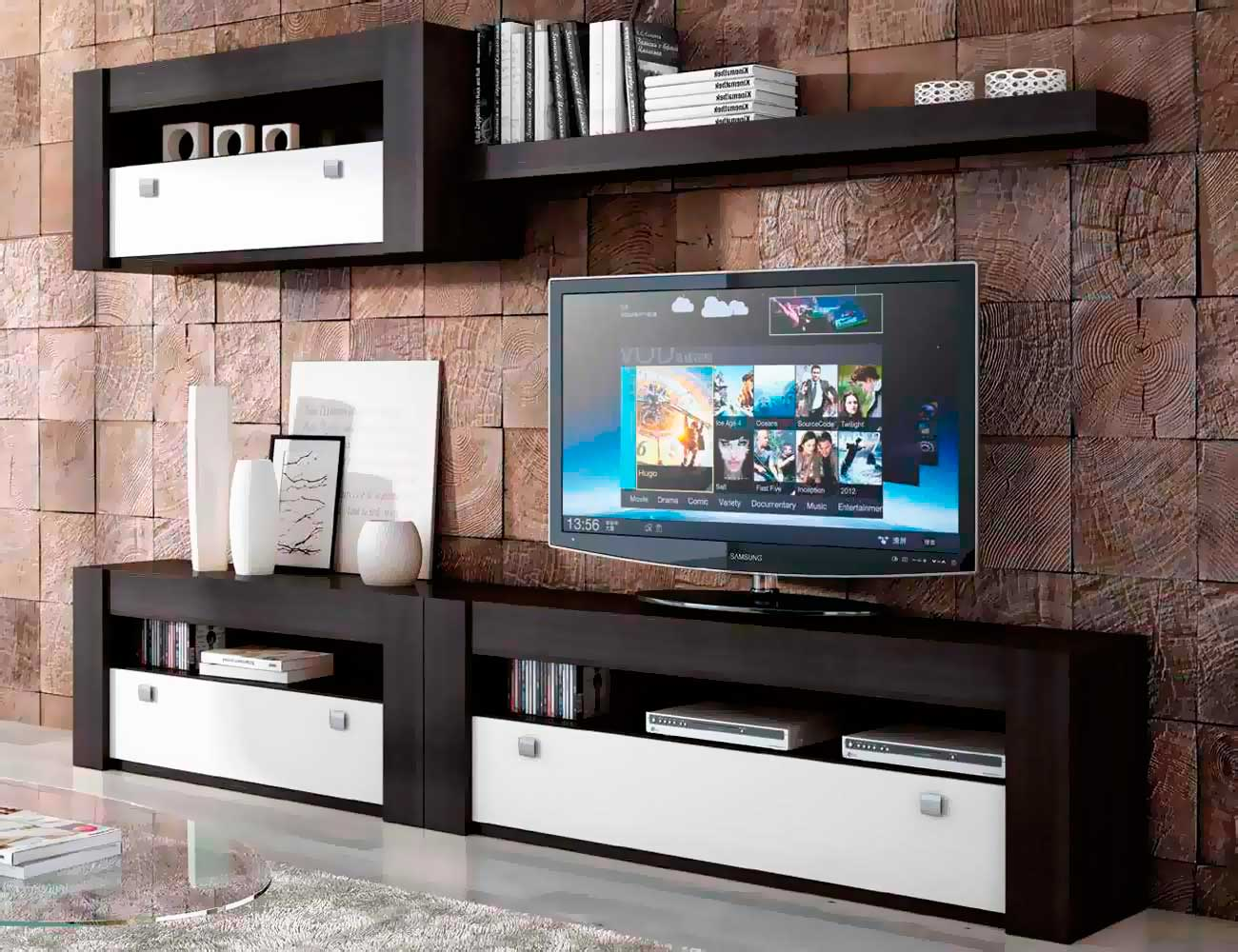 Mueble de sal n modular moderno en cambrian blanco - Mueble salon modular ...