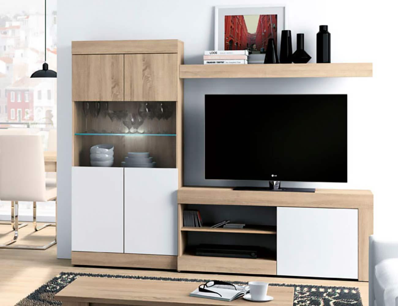 Mueble salon moderno leds cambrian blanco ambiente 2