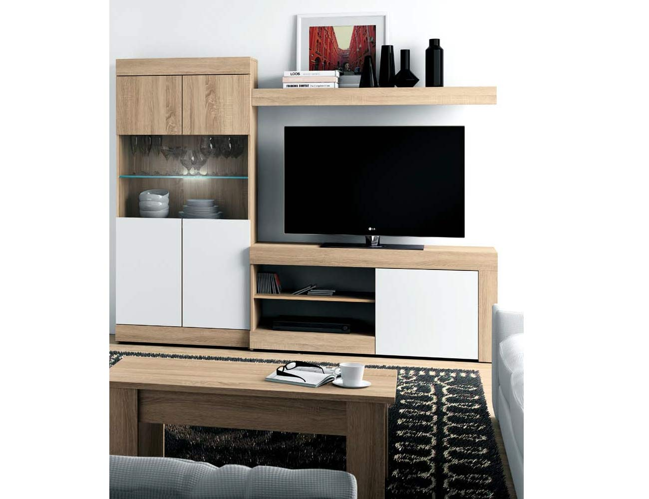 Mueble salon moderno leds cambrian blanco ambiente 22