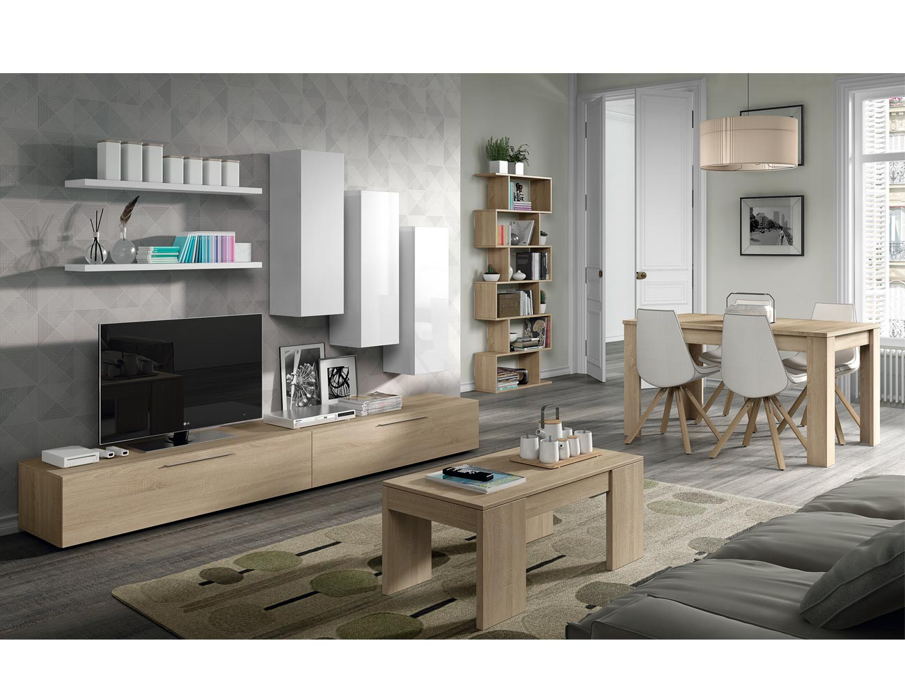 Mueble salon moderno roble blanco 2