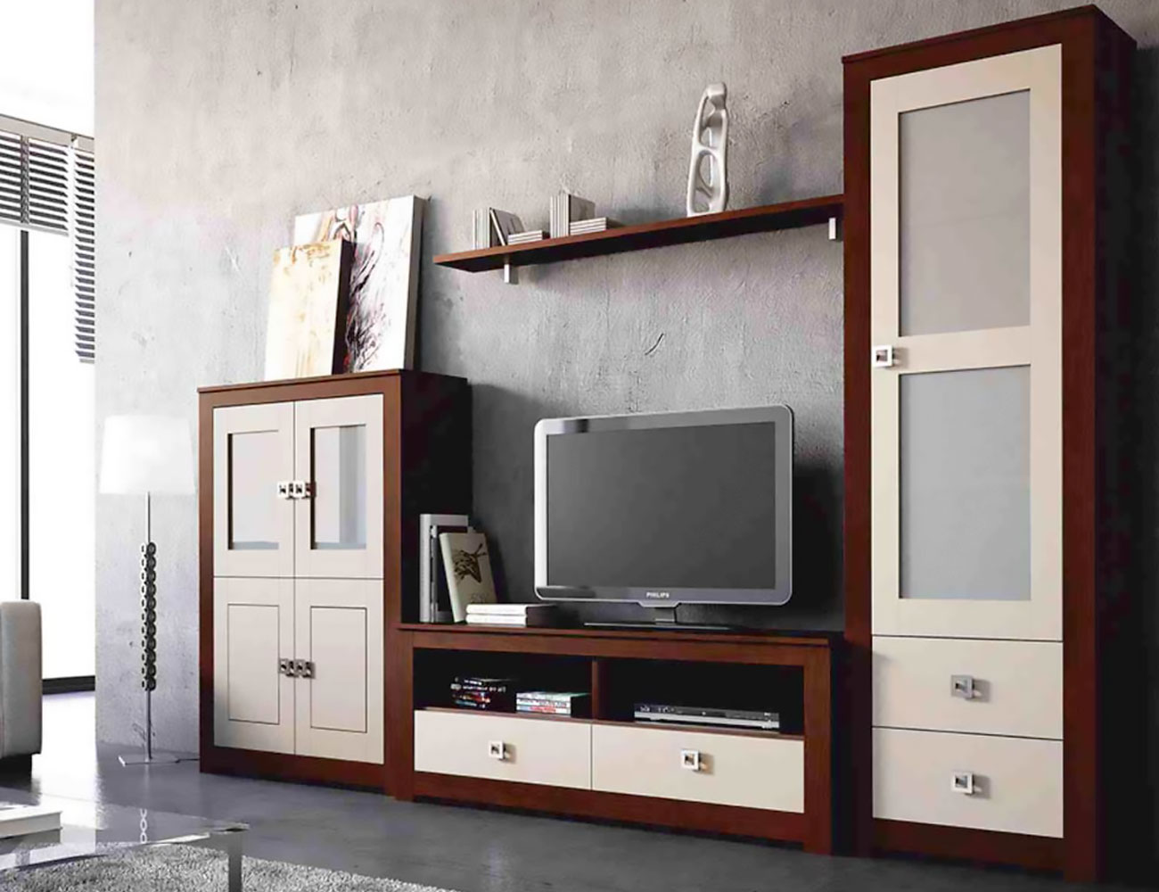 Mueble salon modular  nogal piedra madera dm2