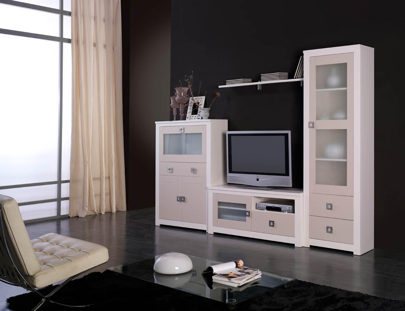 Mueble salon modular lacado blanco piedra madera dm