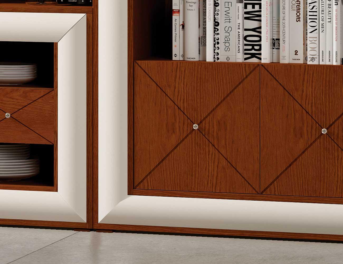 Mueble salon neoclasico cerezo blanco roto detalle