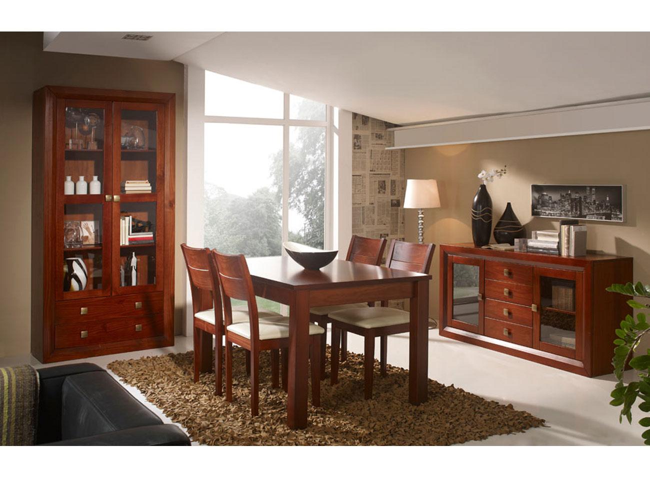 Muebles de sal n comedor color nogal en madera dm con for Muebles de salon lacados