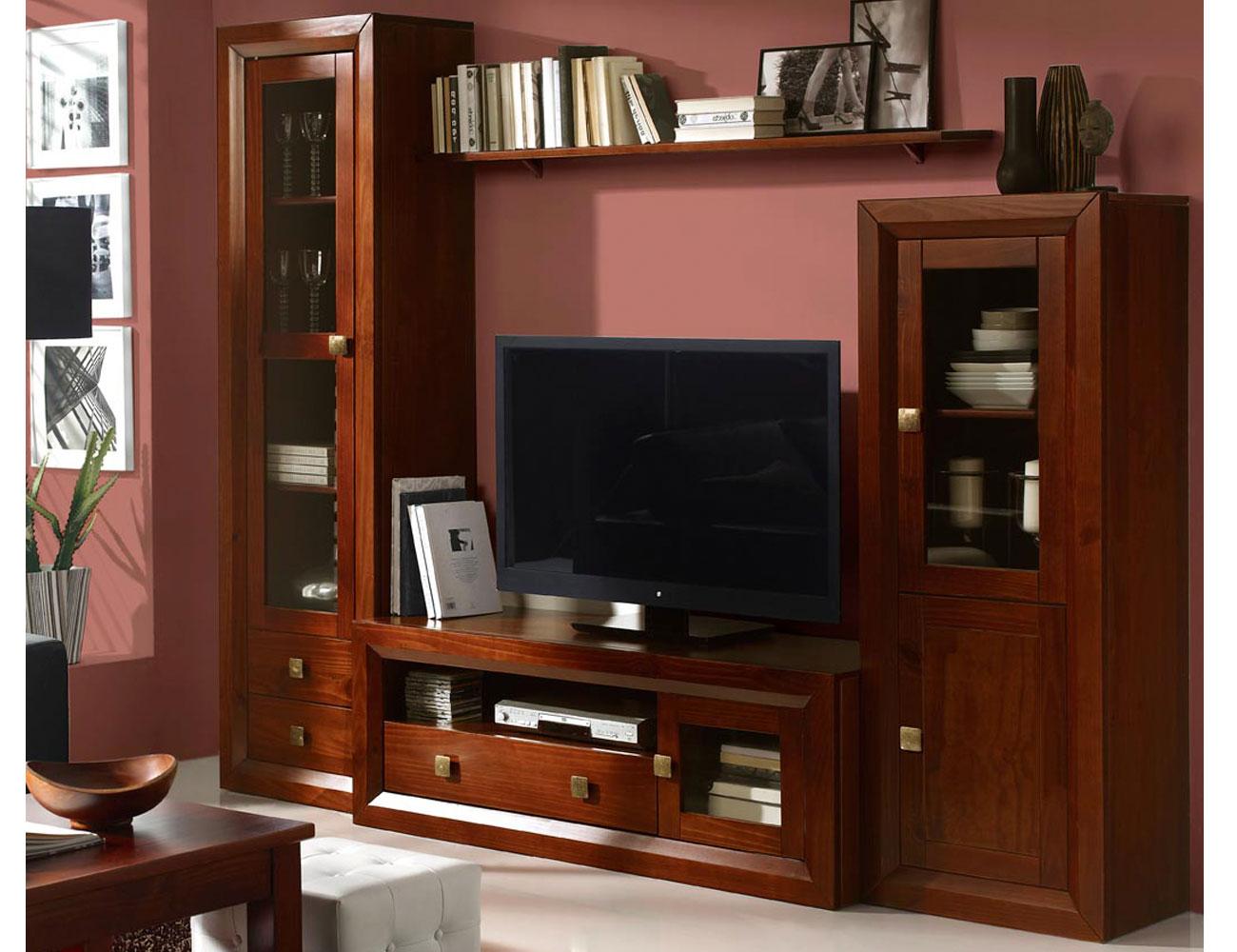 Muebles salon comedor nogal madera dm vitrina bodeguero tv1
