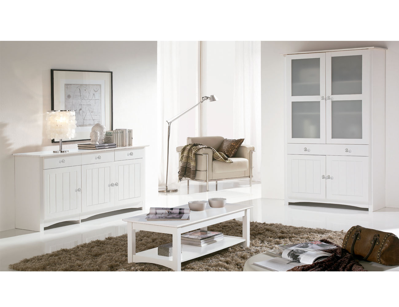 Mesa centro comedor elevable en madera color blanco lacado - Mesas de salon blancas ...