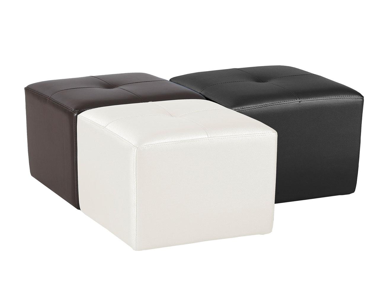 Puf tapizado polipiel blanco 2