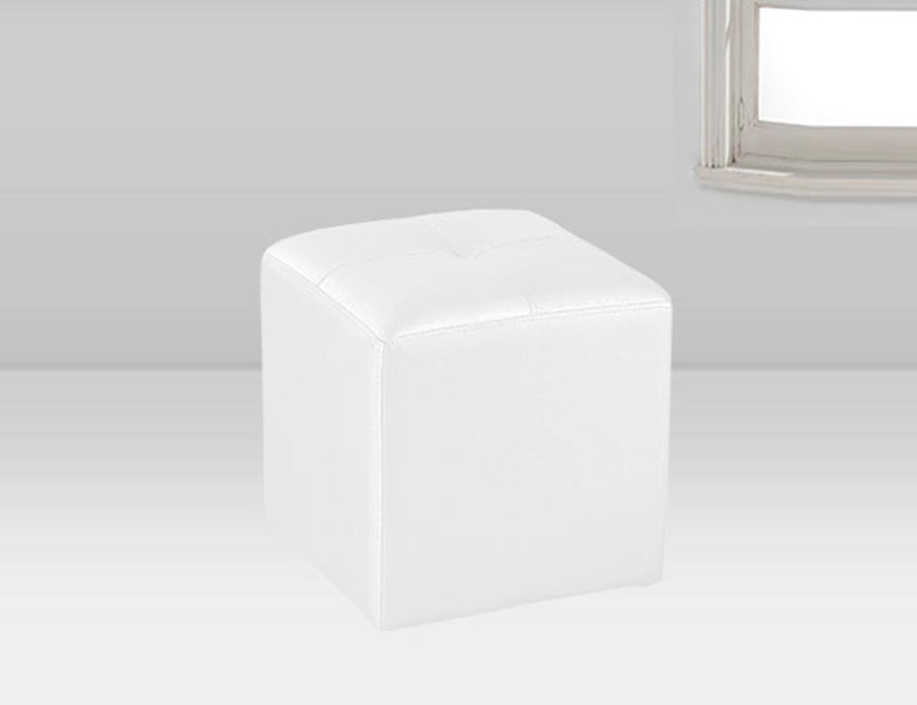 Puf tapizado polipiel blanco 35