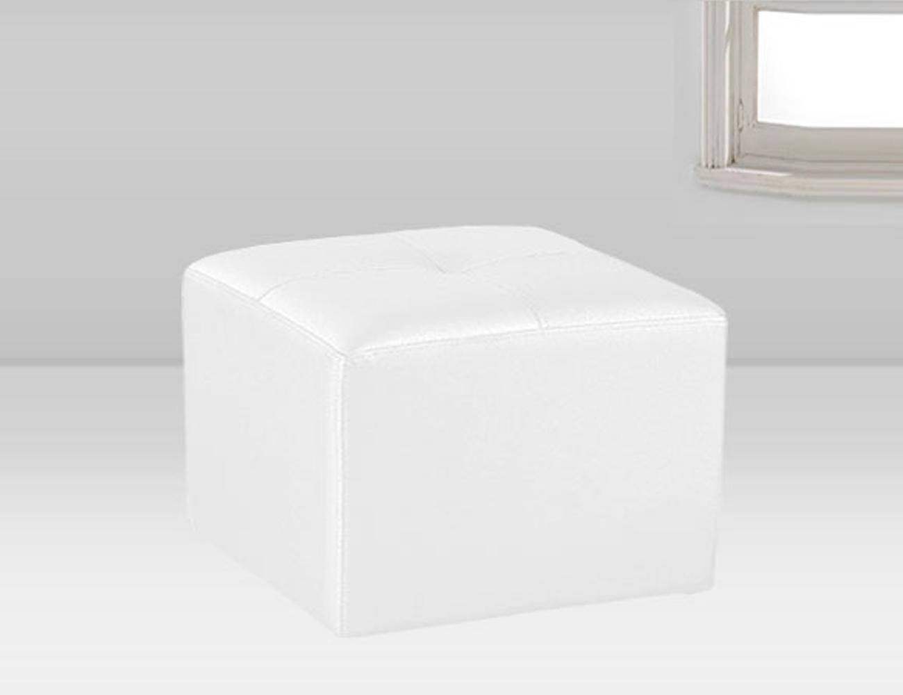 Puf tapizado polipiel blanco 50