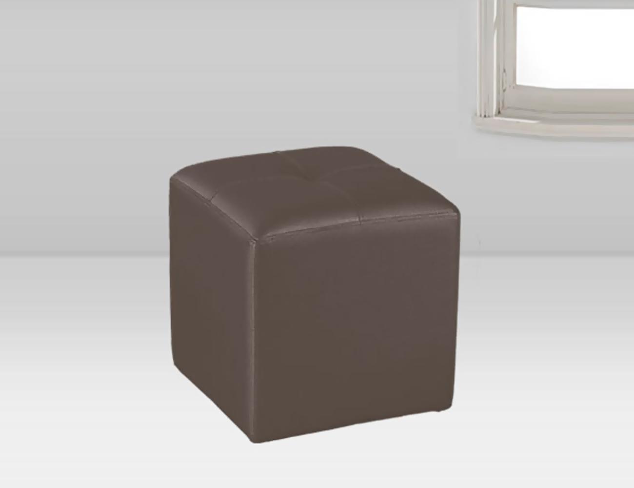 Puf tapizado polipiel chocolate 35