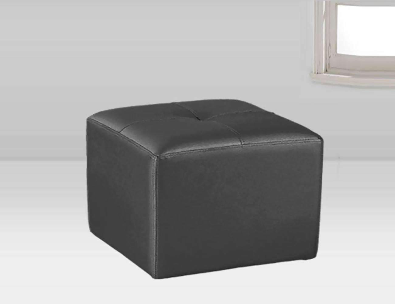 Puf tapizado polipiel negro 50